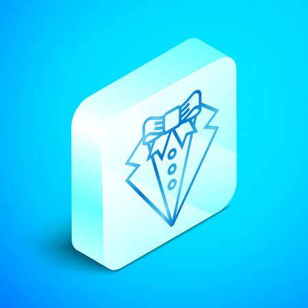 Isometric line Suit icon isolated on blue background. Tuxedo. Wedding suits with necktie. Silver square button. Vector Illustration