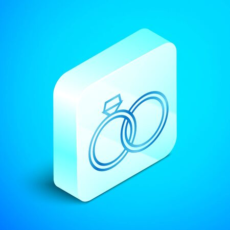 Isometric line Wedding rings icon isolated on blue background. Bride and groom jewelery sign. Marriage icon. Diamond ring icon. Silver square button. Vector Illustration