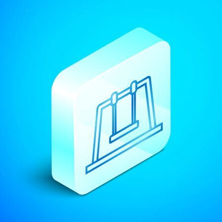 Isometric line Swing icon isolated on blue background. Playground symbol. Silver square button. Vector Illustration