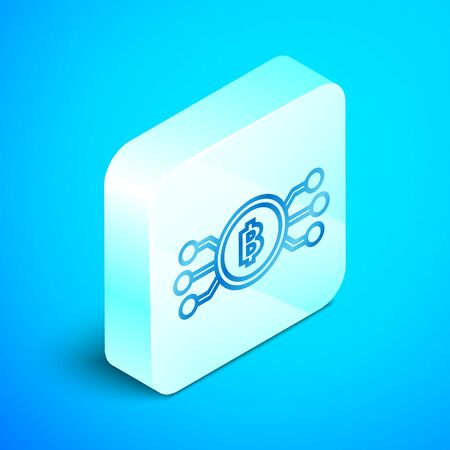 Isometric line Cryptocurrency bitcoin in circle with microchip circuit icon isolated on blue background. Blockchain technology, digital money market. Silver square button. Vector Illustration  イラスト・ベクター素材