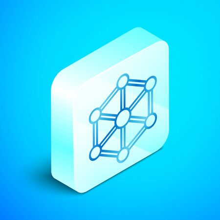 Isometric line Blockchain technology icon isolated on blue background. Cryptocurrency data. Abstract geometric block chain network technology business. Silver square button. Vector Illustration