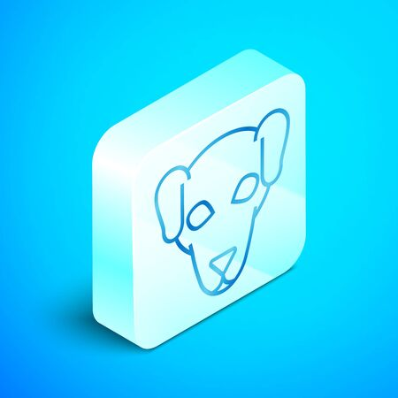 Isometric line Hunting dog icon isolated on blue background. Silver square button. Vector Illustration
