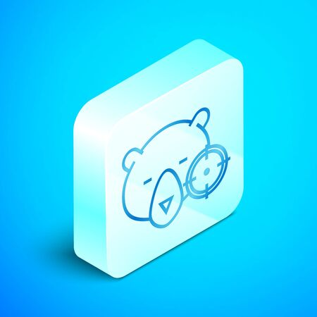 Isometric line Hunt on bear with crosshairs icon isolated on blue background. Hunting club logo with bear and target. Rifle lens aiming a bear. Silver square button. Vector Illustration Vettoriali