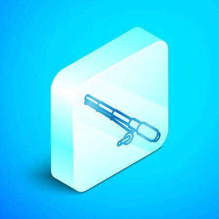 Isometric line Fishing rod icon isolated on blue background. Fishing equipment and fish farming topics. Silver square button. Vector Illustration