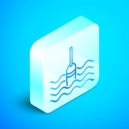 Isometric line Fishing float in water icon isolated on blue background. Fishing tackle. Silver square button. Vector Illustration Иллюстрация
