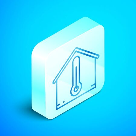 Isometric line House temperature icon isolated on blue background. Thermometer icon. Silver square button. Vector Illustration