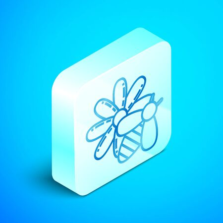 Isometric line Bee and flower icon isolated on blue background. Sweet natural food. Honeybee or apis with wings symbol. Flying insect. Silver square button. Vector Illustration