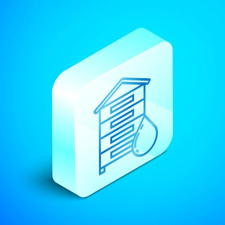 Isometric line Hive for bees icon isolated on blue background. Beehive symbol. Apiary and beekeeping. Sweet natural food. Silver square button. Vector Illustration