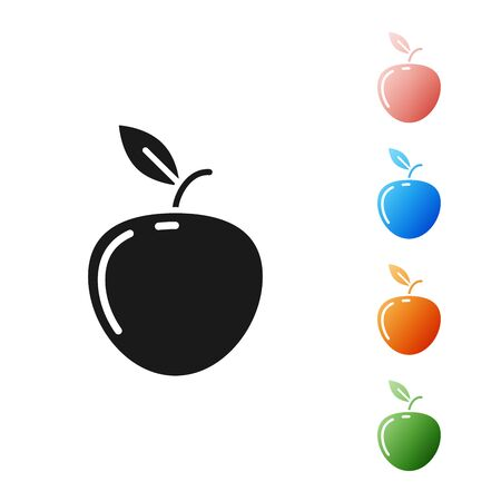 Black Apple icon isolated on white background. Fruit with leaf symbol. Set icons colorful. Vector Illustration