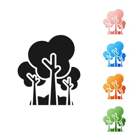 Black Trees icon isolated on white background. Forest symbol. Set icons colorful. Vector Illustration Ilustracja