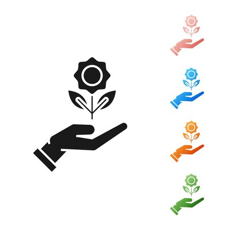 Black Hand holding flower icon isolated on white background. Seed and seedling. Planting sapling. Ecology concept. Set icons colorful. Vector Illustration