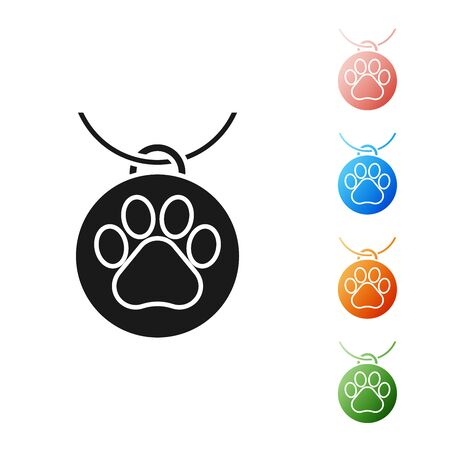 Black Collar with name tag icon isolated on white background. Supplies for domestic animal. Dog or cat paw print. Cat and dog care. Pet chains. Set icons colorful. Vector Illustration