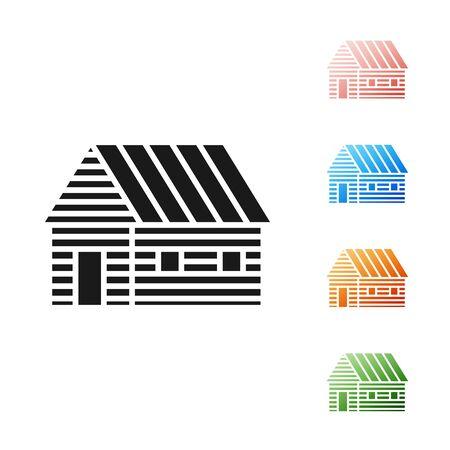 Black Farm house icon isolated on white background. Set icons colorful. Vector Illustration