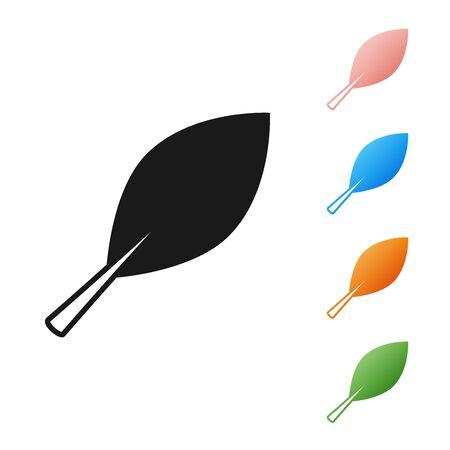 Black Leaf icon isolated on white background. Fresh natural product symbol. Set icons colorful. Vector Illustration