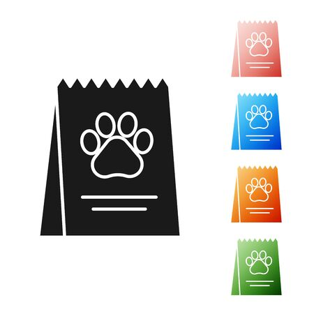 Black Bag of food for dog icon isolated on white background. Dog or cat paw print. Food for animals. Pet food package. Set icons colorful. Vector Illustration