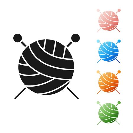 Black Yarn ball with knitting needles icon isolated on white background. Label for hand made, knitting or tailor shop. Set icons colorful. Vector Illustration