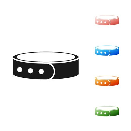Black Collar with name tag icon isolated on white background. Simple supplies for domestic animal. Cat and dog care. Pet chains. Set icons colorful. Vector Illustration
