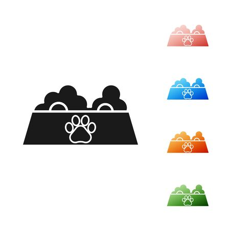 Black Pet food bowl for cat or dog icon isolated on white background. Dog or cat paw print. Set icons colorful. Vector Illustration Illustration