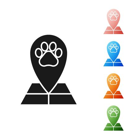 Black Map pointer with veterinary medicine hospital, clinic or pet shop for animals icon isolated on white background. Veterinarian clinic. Set icons colorful. Vector Illustration