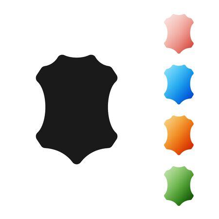 Icono de cuero negro aislado sobre fondo blanco. Establecer iconos de colores. Ilustración vectorial