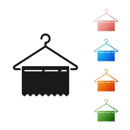 Black Hanger wardrobe icon isolated on white background. Clean towel sign. Cloakroom icon. Clothes service symbol. Laundry hanger sign. Set icons colorful. Vector Illustration
