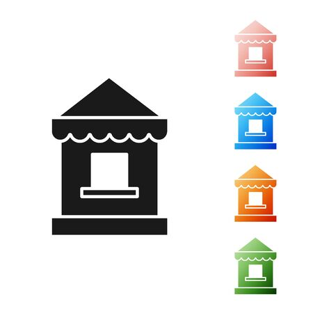 Black Ticket box office icon isolated on white background. Ticket booth for the sale of tickets for attractions and sports. Set icons colorful. Vector Illustration