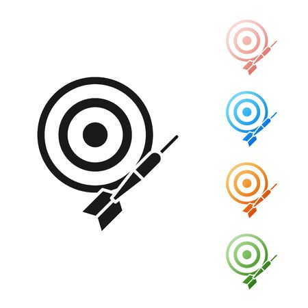 Black Classic dart board and arrow icon isolated on white background. Dartboard sign. Game concept. Set icons colorful. Vector Illustration