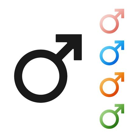 Black Male gender symbol icon isolated on white background. Set icons colorful. Vector Illustration