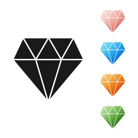 Black Diamond icon isolated on white background. Jewelry symbol. Gem stone. Set icons colorful. Vector Illustration Stock Illustratie
