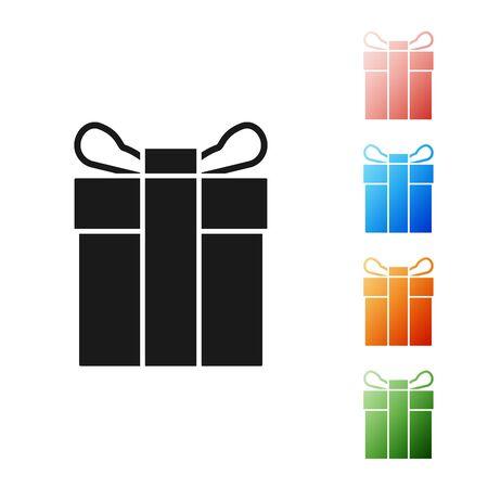 Black Gift box icon isolated on white background. Set icons colorful. Vector Illustration