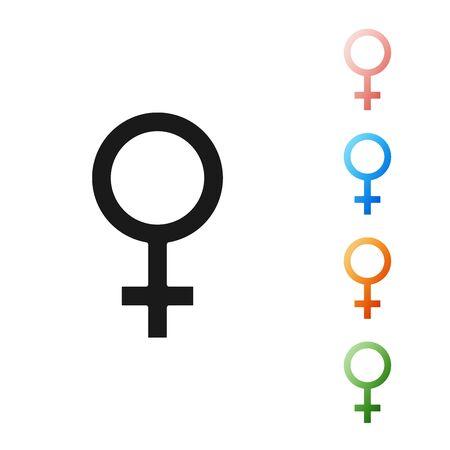 Black Female gender symbol icon isolated on white background. Venus symbol. The symbol for a female organism or woman. Set icons colorful. Vector Illustration Ilustração