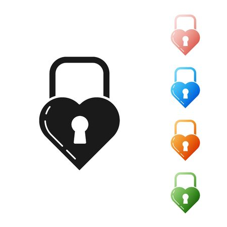 Black Lock in the shape of a heart icon isolated on white background. Locked Heart. Love symbol and keyhole sign. Set icons colorful. Vector Illustration Ilustração