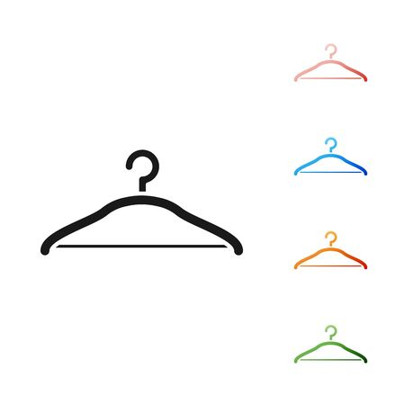 Black Hanger wardrobe icon isolated on white background. Cloakroom icon. Clothes service symbol. Laundry hanger sign. Set icons colorful. Vector Illustration  イラスト・ベクター素材