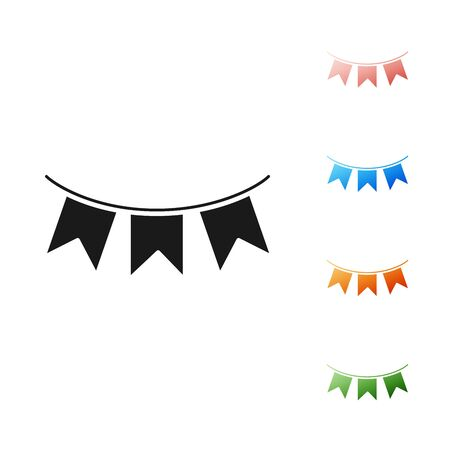 Black Carnival garland with flags icon isolated on white background. Party pennants for birthday celebration, festival and fair decoration. Set icons colorful. Vector Illustration