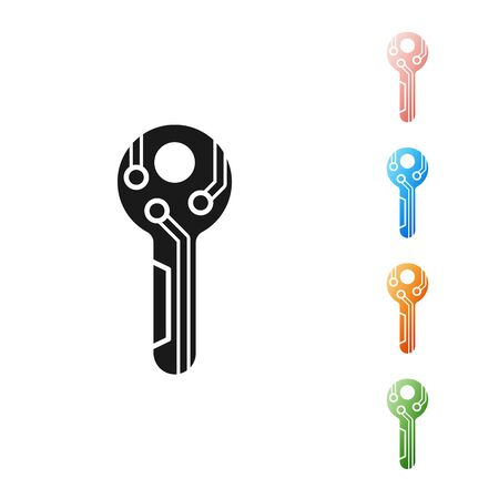 Black Cryptocurrency key icon isolated on white background. Concept of cyber security or private key, digital key with technology interface. Set icons colorful. Vector Illustration Ilustração
