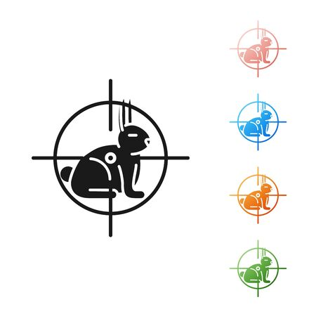 Black Hunt on rabbit with crosshairs icon isolated on white background. Hunting club with rabbit and target. Rifle lens aiming a hare. Set icons colorful. Vector Illustration Ilustracja