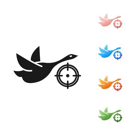 Black Hunt on duck with crosshairs icon isolated on white background. Hunting club with duck and target. Rifle lens aiming a duck. Set icons colorful. Vector Illustration