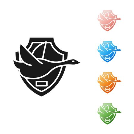 Black Flying duck on shield icon isolated on white background. Hunting trophy on wall. Set icons colorful. Vector Illustration