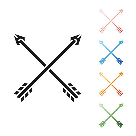 Black Crossed arrows icon isolated on white background. Set icons colorful. Vector Illustration