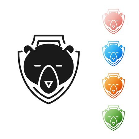 Black Bear head on shield icon isolated on white background. Hunting trophy on wall. Set icons colorful. Vector Illustration