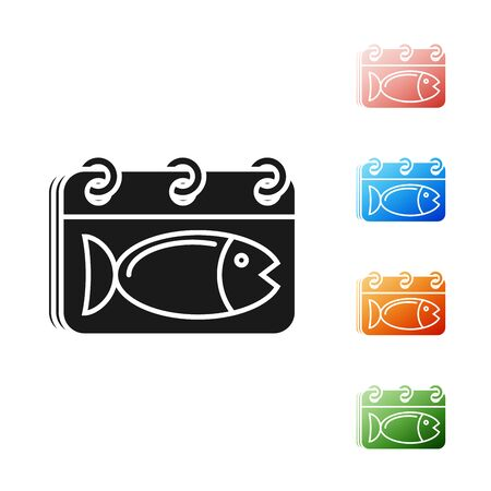 Black Calendar with a fish icon isolated on white background. Day of fish. Set icons colorful. Vector Illustration  イラスト・ベクター素材