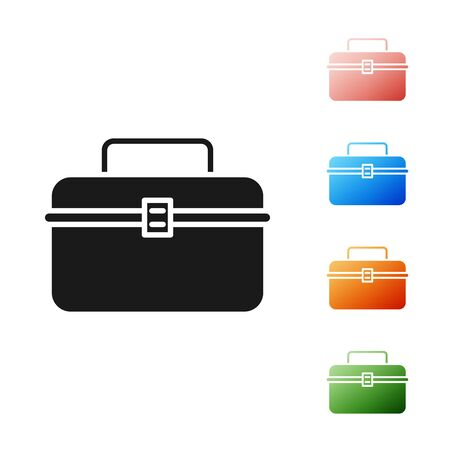 Black Case or box container for wobbler and gear fishing equipment icon isolated on white background. Fishing tackle. Set icons colorful. Vector Illustration