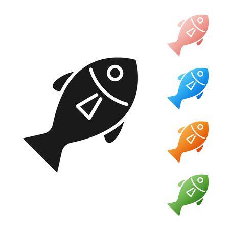 Black Fish icon isolated on white background. Set icons colorful. Vector Illustration  イラスト・ベクター素材