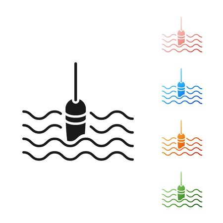 Black Fishing float in water icon isolated on white background. Fishing tackle. Set icons colorful. Vector Illustration