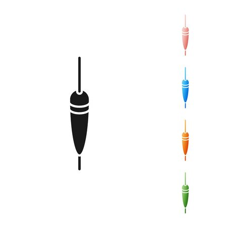 Black Fishing float icon isolated on white background. Fishing tackle. Set icons colorful. Vector Illustration