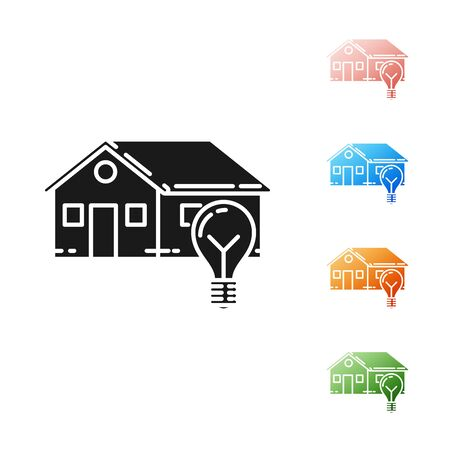 Black Smart house and light bulb icon isolated on white background. Set icons colorful. Vector Illustration