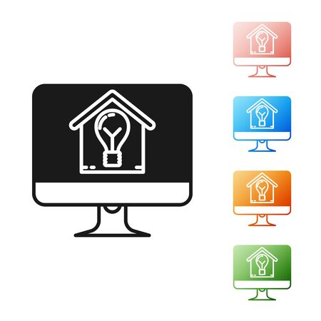 Black Computer monitor with smart house and light bulb icon isolated on white background. Set icons colorful. Vector Illustration