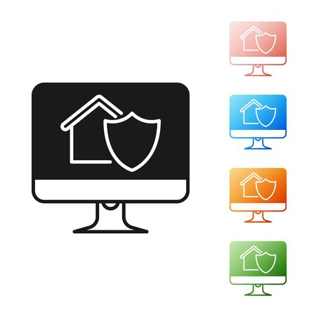 Black Computer monitor with house under protection icon isolated on white background. Protection, safety, security, protect, defense concept. Set icons colorful. Vector Illustration