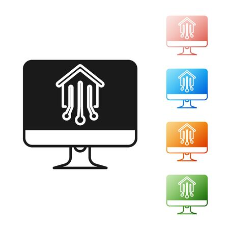 Black Computer monitor with smart home icon isolated on white background. Remote control. Set icons colorful. Vector Illustration