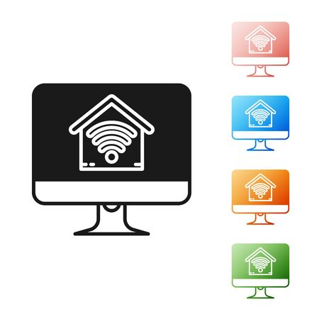 Black Computer monitor with smart home with wifi icon isolated on white background. Remote control. Set icons colorful. Vector Illustration
